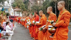 Monks collecting morning alms at Doi Suthep
