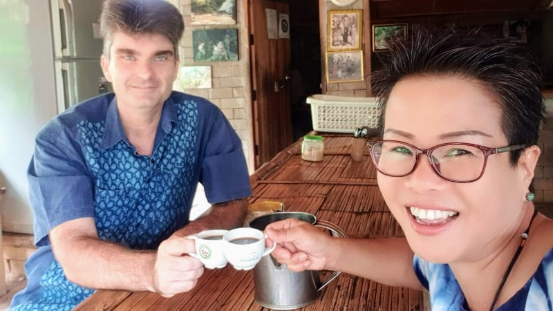 Drinking coffee at Mae Klang Luang