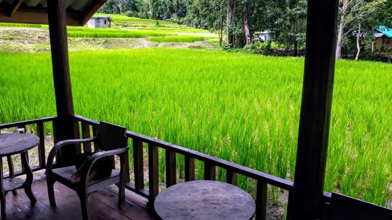 verandah view at Mae Klang Luang Hill resort
